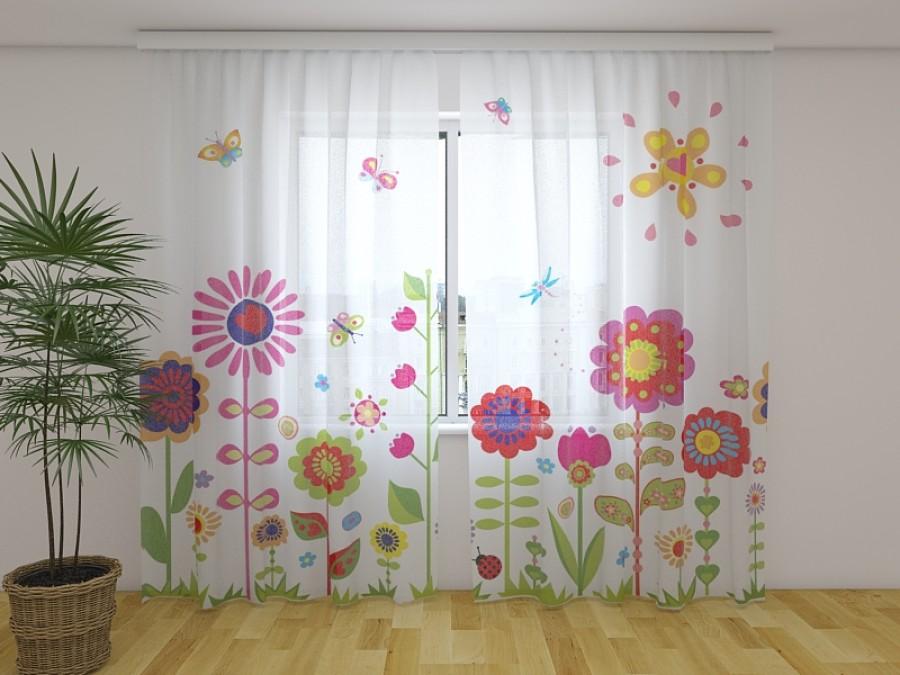 """Dieninė užuolaida vaikiška"""" Flowers and sun"""""""