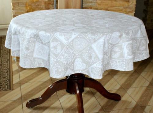 kaledine staltiesė apvali ovali  kreminės spalvos su širdutėmis